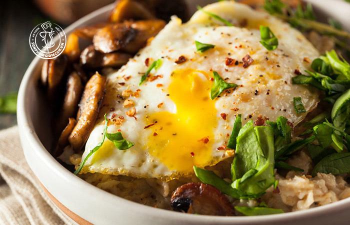 Bột yến mạch + Trứng chiên